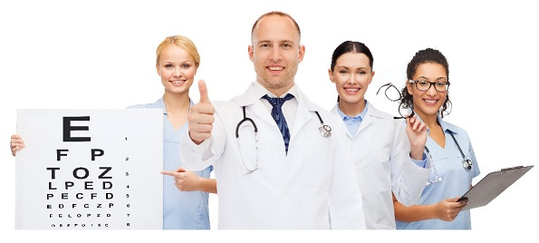 medicine, profession, teamwork and healthcare concept - international group of smiling medics or doctors with eye chart, clipboard and stethoscopes over white background